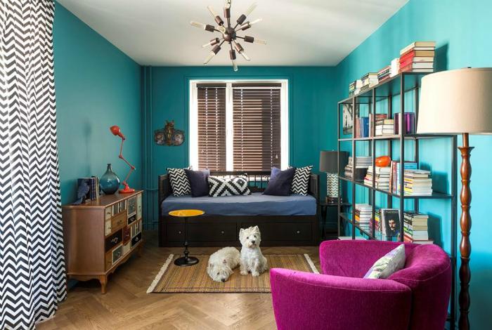 Яркий дизайн однокомнатной квартиры.