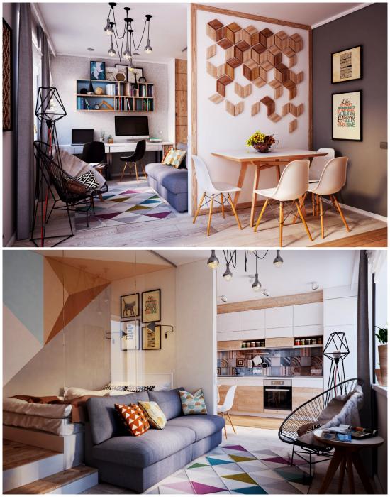 Оригинальная квартира-студия с геометрическими акцентами.