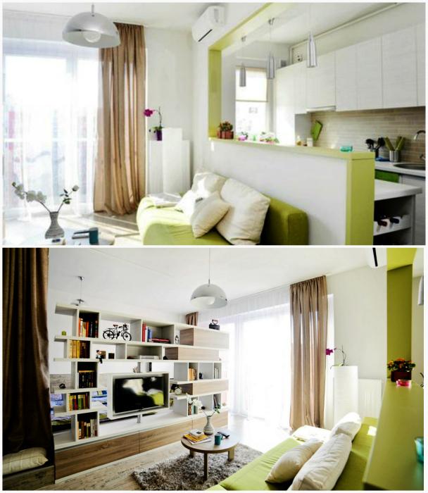 Уютная квартирка с салатным диваном.