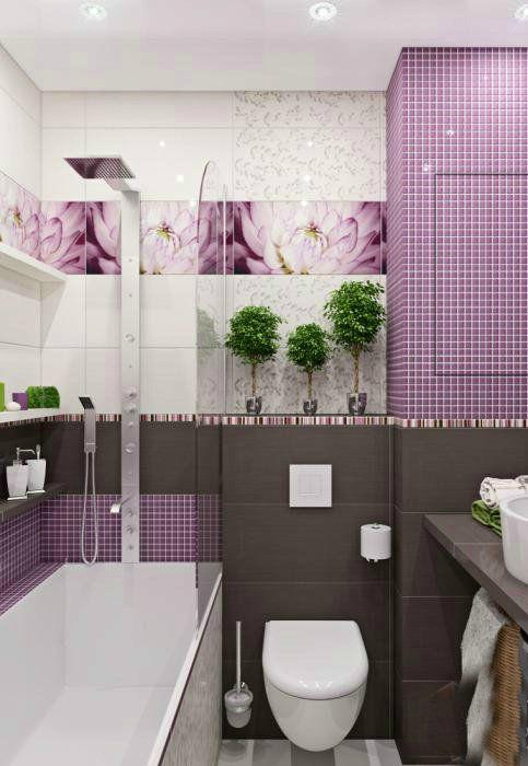Ванная комната в лавандовом цвете. | Фото: Pinterest.