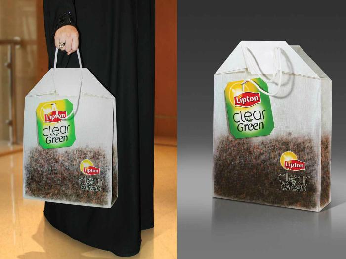 Сумка у вигляді чайного пакетика від компанії Lipton.
