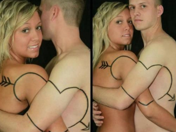 Парная татуировка-сердце, складывается во время объятий.