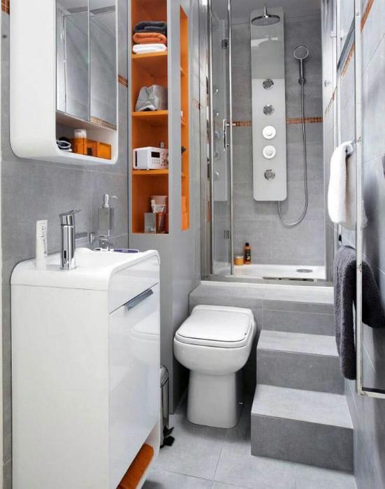 Ванная комната в стиле хай-тек.