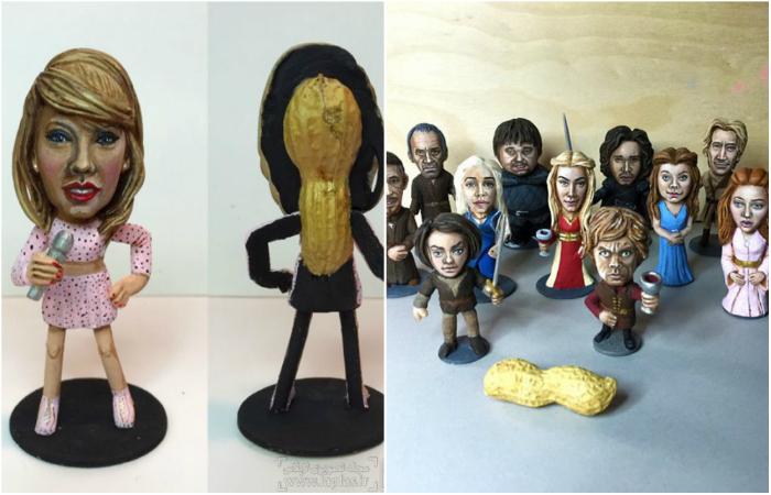 Миниатюрные фигурки из арахисовой скорлупы.
