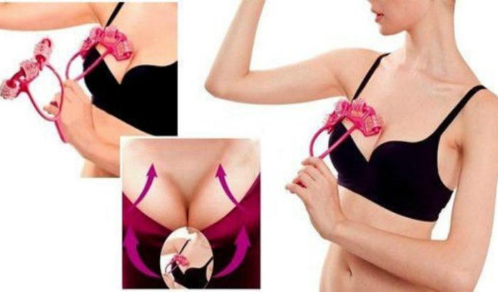 Роликовый массажер для шеи и зоны декольте, который улучшает кровообращение и подтягивает мышцы груди.