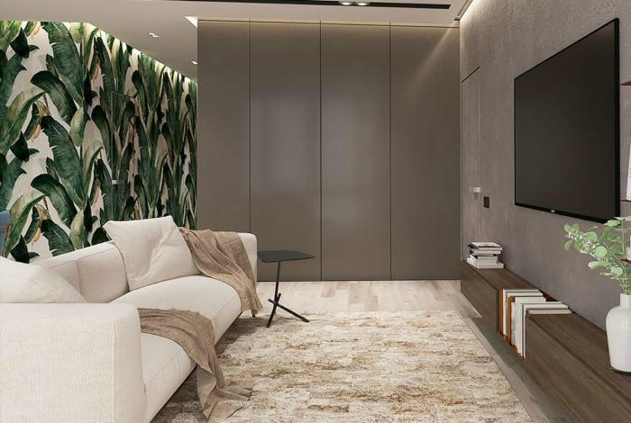 Гостиная с акцентной стеной в тропическом стиле.