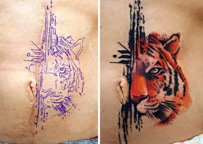 Красочная татуировка с изображением тигра.