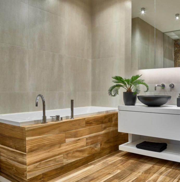 Натуральные материалы в интерьере ванной комнаты.