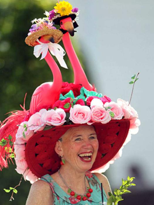 Веселые фламинго на голове у веселой женщины.