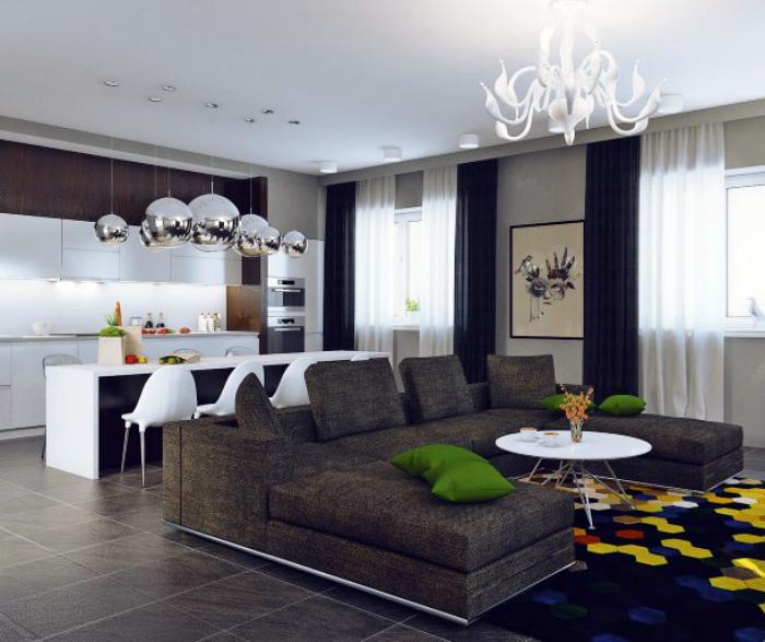 Стильная гостиная, совмещенная с кухней.