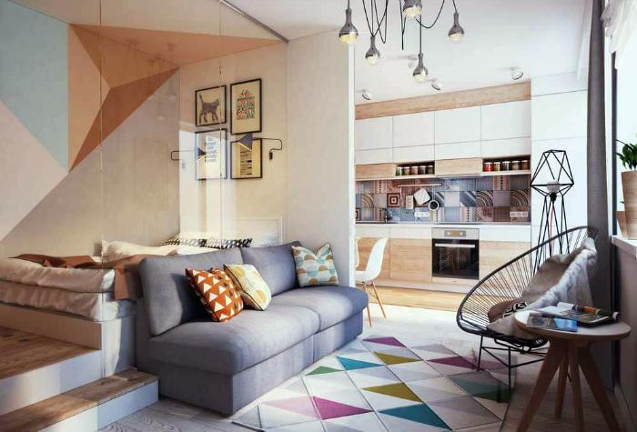 Уютная комната с геометрическими деталями.