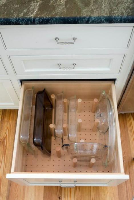 Перфорированная панель на дне шкафчика.