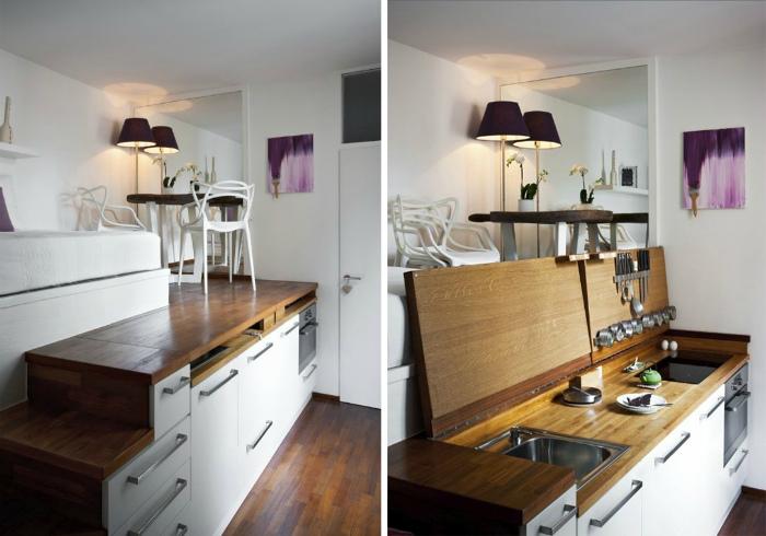 Кухонный гарнитур с откидной столешницей.