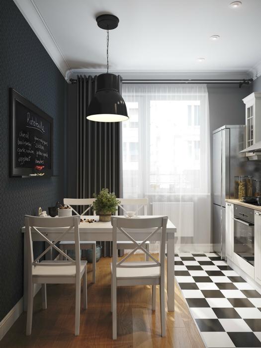 Контрастные сочетания в интерьере кухни.