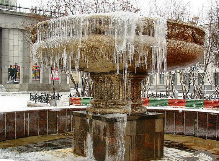 Немного не успели выключит фонтан.