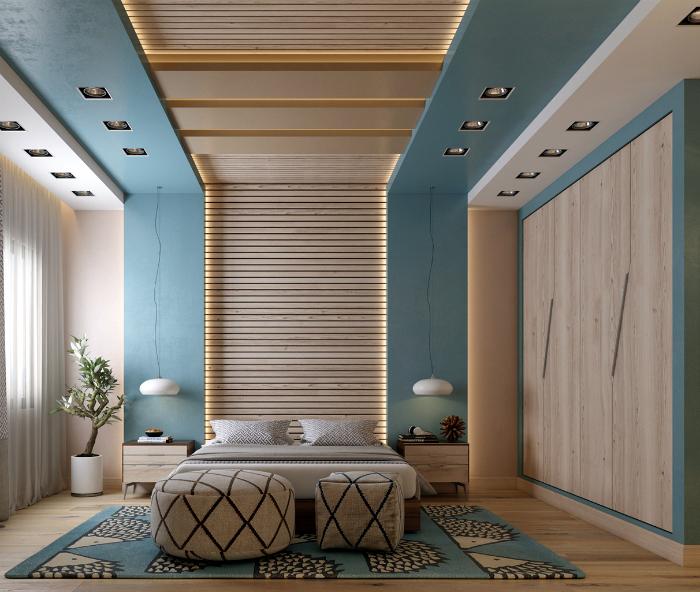 Спальня с обилием деталей из дерева.