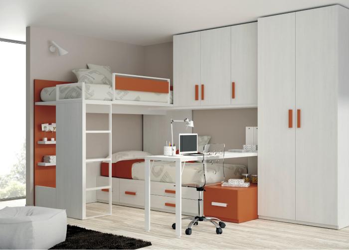 Функциональная двухъярусная кровать в стиле модерн.