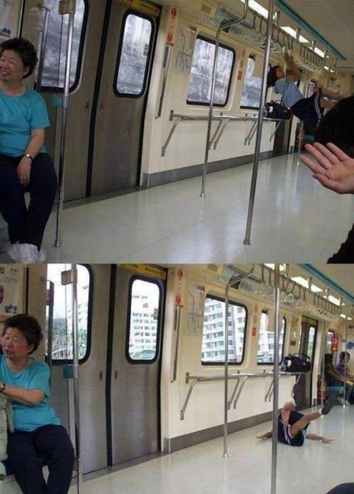 Минутка спорта в метро.