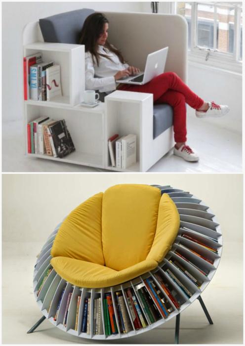 Кресла с полками для книг.