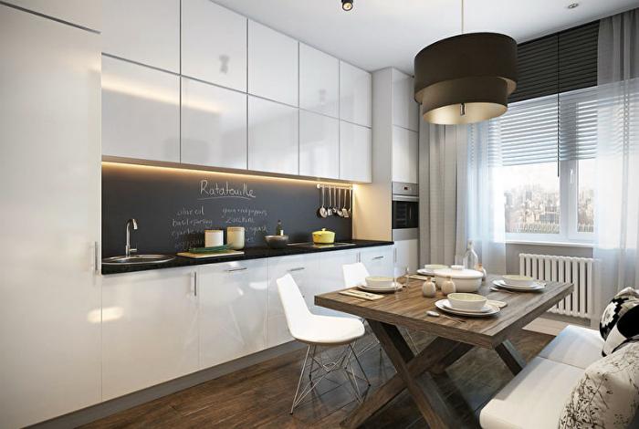 Современная черно-белая кухня.