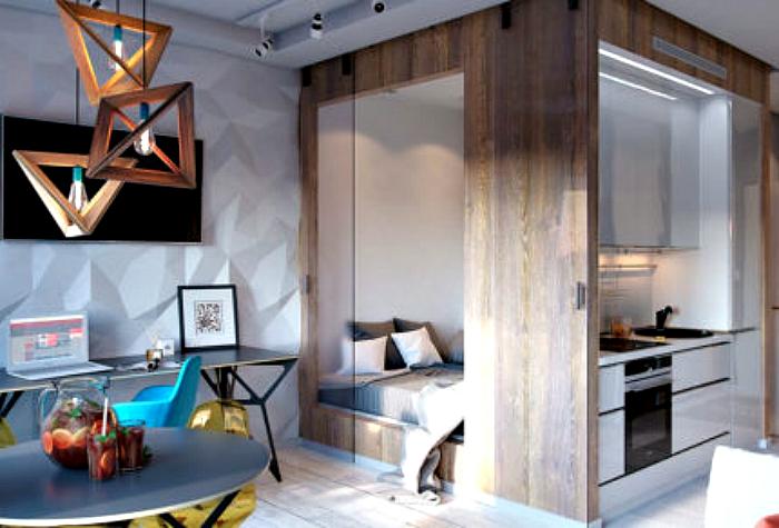 Современный дизайн небольшой комнате.