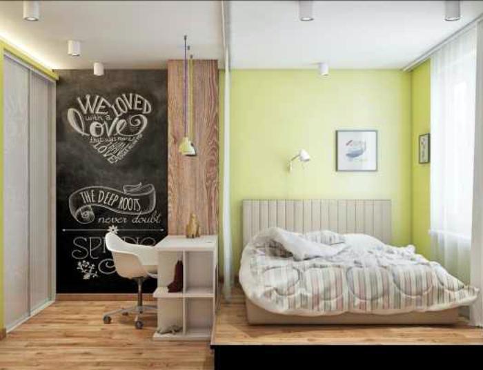 Оригинальное зонирование спальни.