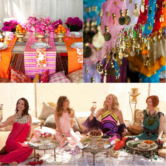 Арабскую вечеринку лучше всего проводить летом в саду. Постелите на траве яркое одеяло, разложите разноцветные подушки, украсьте все цветами, расставьте свечи и включите зажигательную музыку. Угощайте гостей тропическими коктейлями и сладостями.