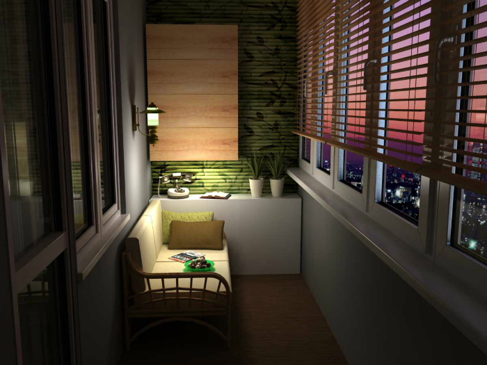 Небольшой диванчик, мягкий свет и деревянное панно на стене.