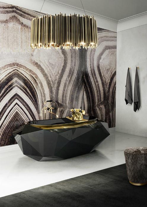 Ванная комната в стиле ар-деко.