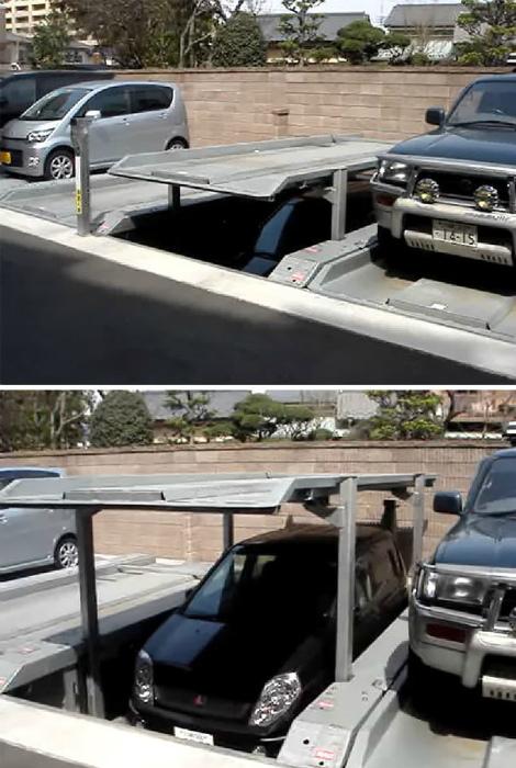 Подземная парковка в Японии.