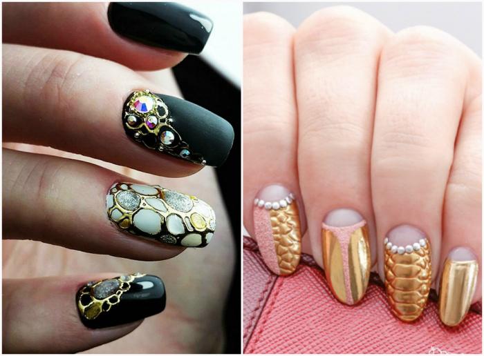 Литые узоры на ногтях.