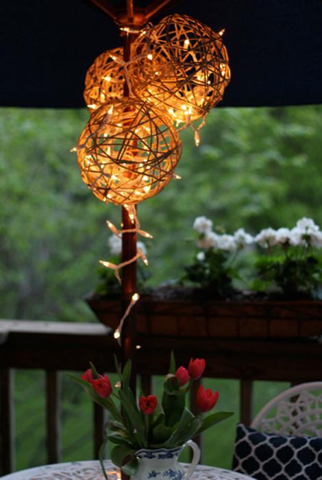Волшебный светильник из веревок.