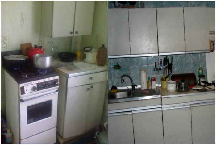 Кухонные шкафчики советских времен.