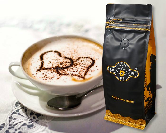 Отверстие в пакете натурального кофе. | Фото: www.paperbags.qa.