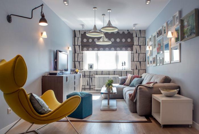 Уютная гостиная в стиле эклектика.