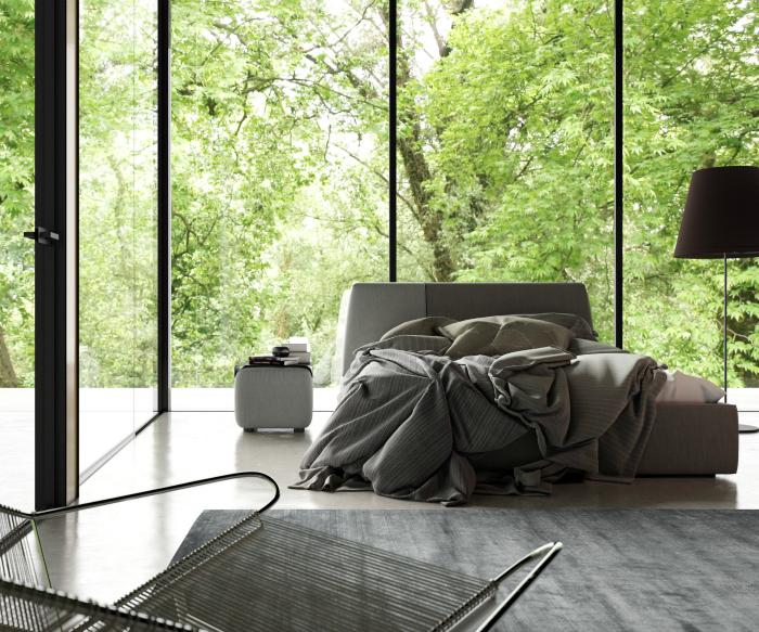 Спальня с панорамными окнами.