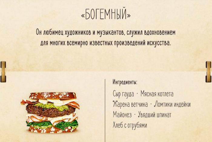 Бургер с мясной котлетой, ветчиной и ломтиками идейки.