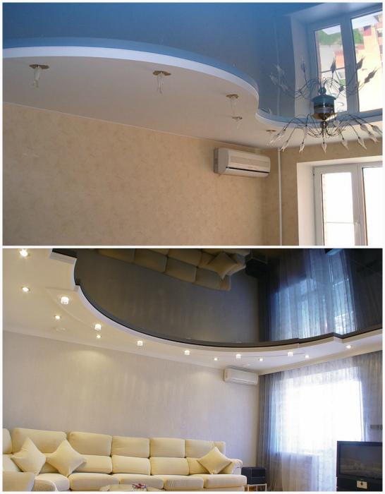 Натяжной потолок с волной из гипсокартона.