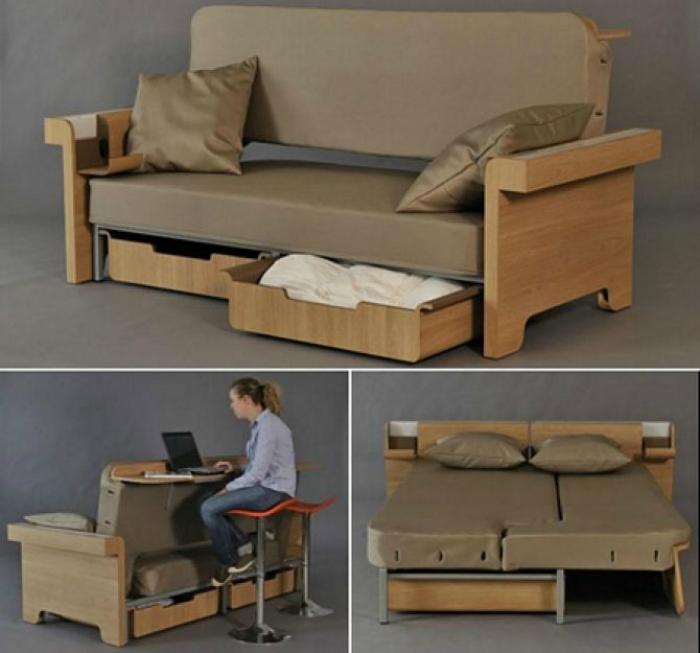 3 в 1: небольшой стол, двуспальная кровать и диван.