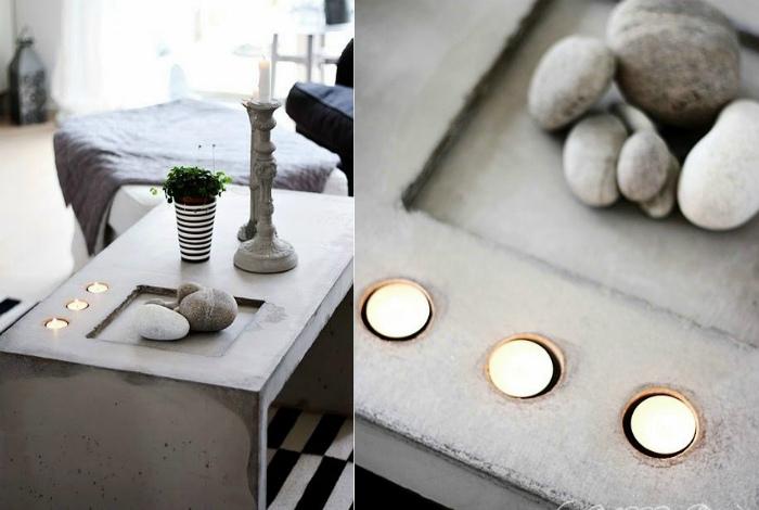 Столик с нишами для предметов декора.