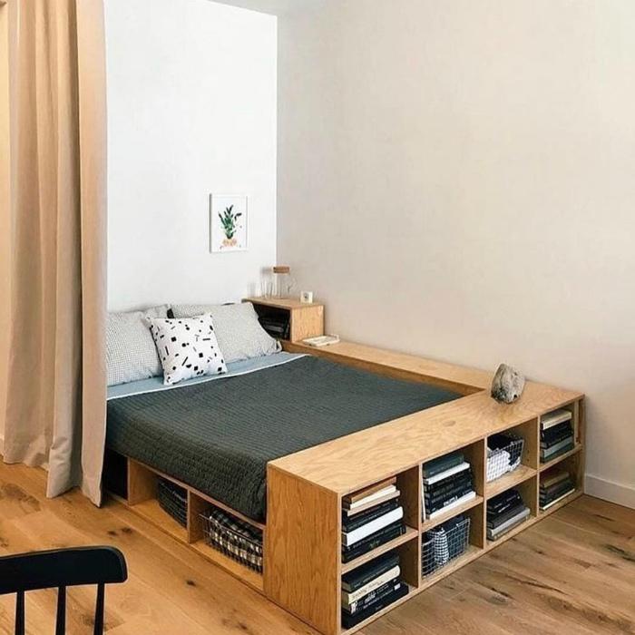 Кровать с функциональным каркасом. | Фото: Minilua.