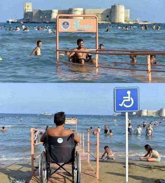 Вход в море для людей на колясках.