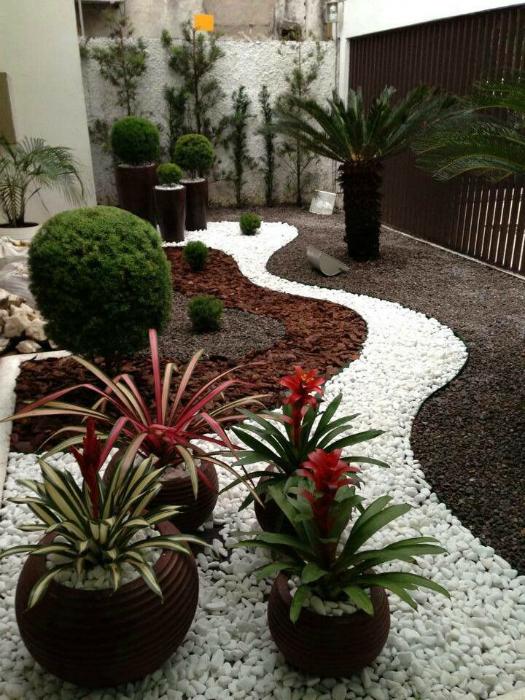 Небольшой сад, украшенный цветной галькой.