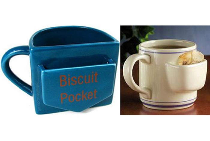 Очаровательная чайная кружка с небольшим карманом для печенья.