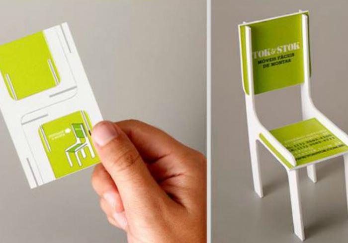 Визитная карточка, которая складывается в стульчик. Автор визитки предлагает услуги изготовления и ремонта мебели.