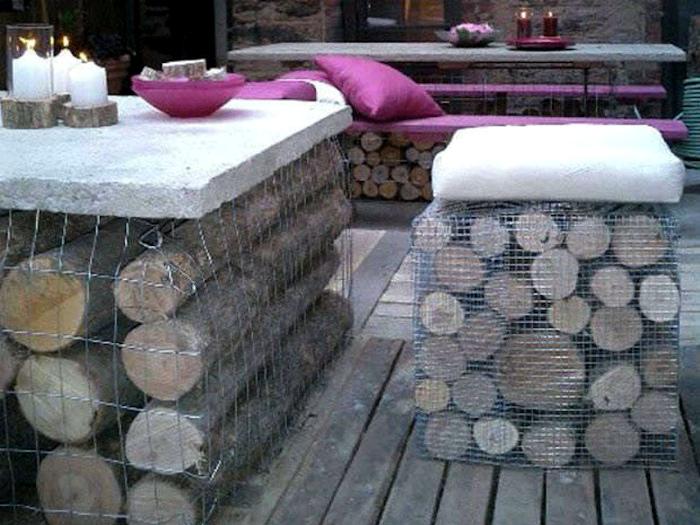 Временная мебель из габионов. | Фото: Pinterest.