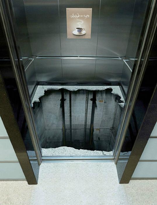 3D пол в лифте.