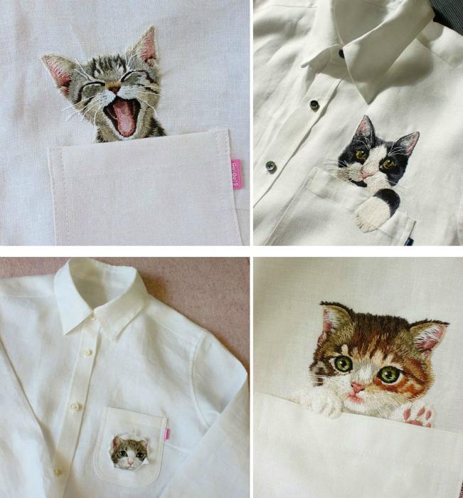 Коты, вышитые на рубашках.