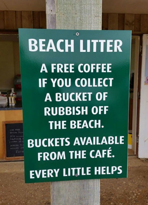 Бесплатный кофе в обмен на мусор.