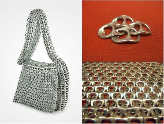 Оригинальная сумка, сделанная из металлических ключей от алюминиевых банок.